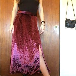Free People burgundy velvet midi skirt with slit